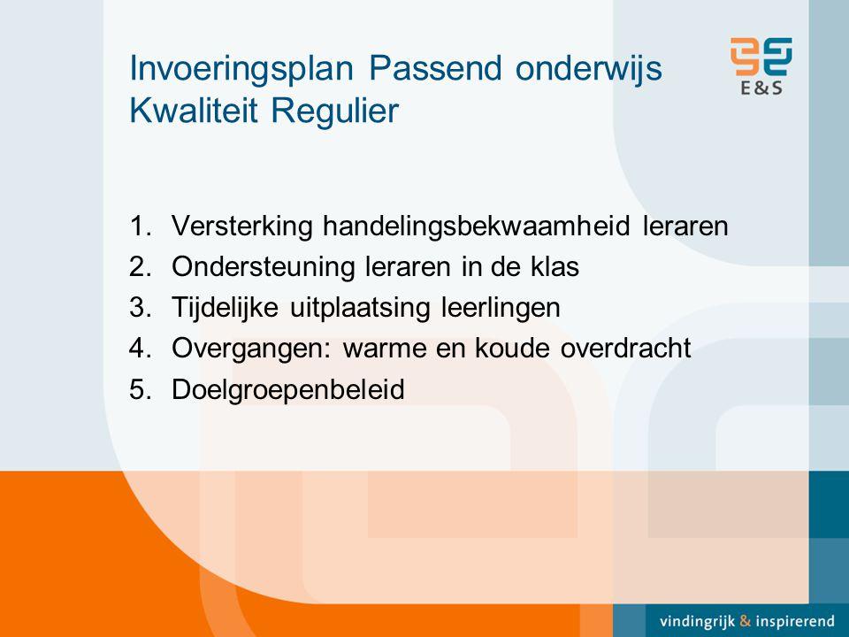 Invoeringsplan Passend onderwijs Kwaliteit Regulier