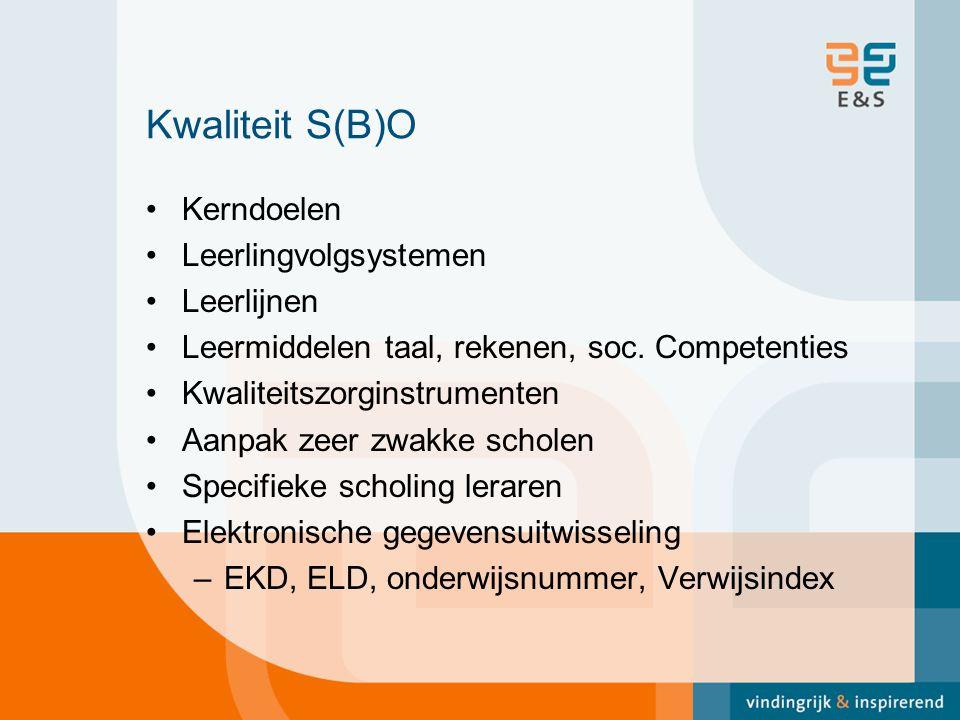 Kwaliteit S(B)O Kerndoelen Leerlingvolgsystemen Leerlijnen