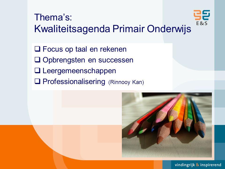 Thema's: Kwaliteitsagenda Primair Onderwijs