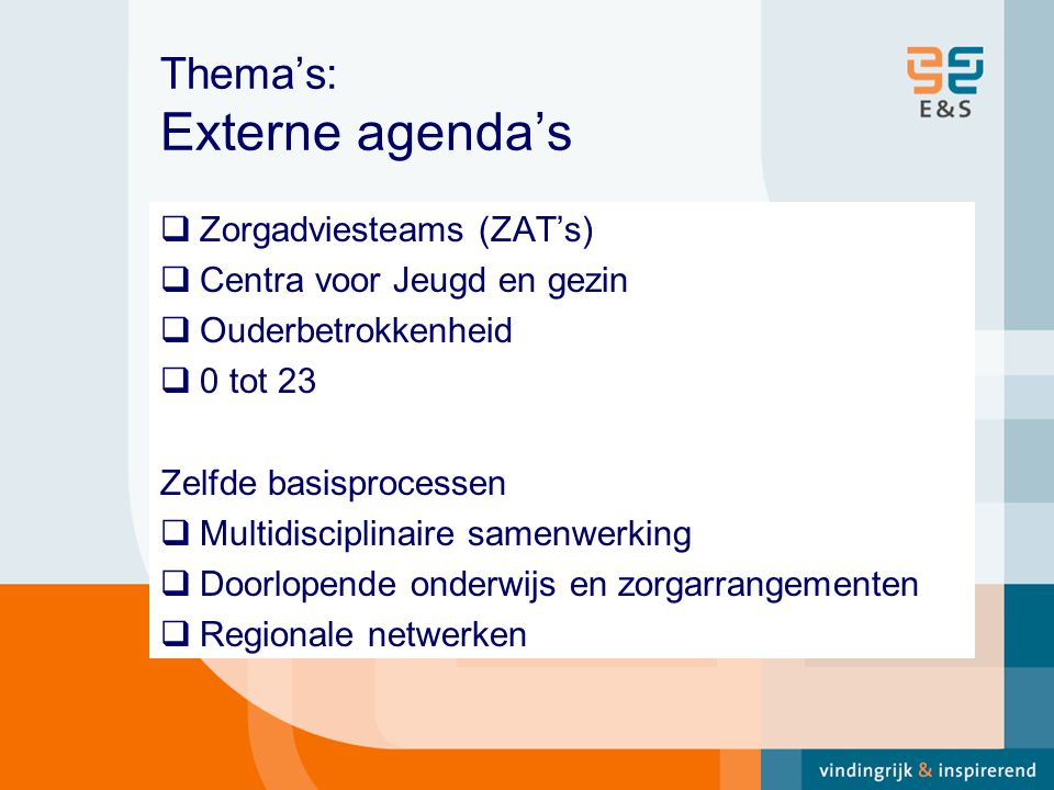 Thema's: Externe agenda's