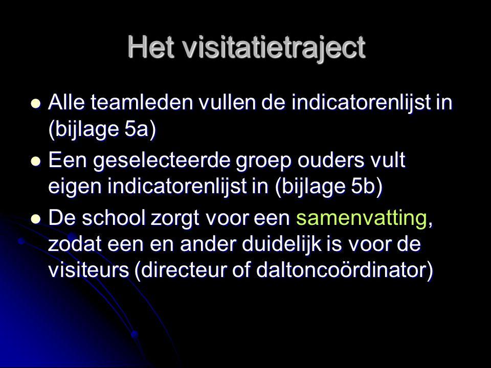 Het visitatietraject Alle teamleden vullen de indicatorenlijst in (bijlage 5a)