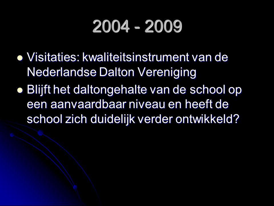 2004 - 2009 Visitaties: kwaliteitsinstrument van de Nederlandse Dalton Vereniging.