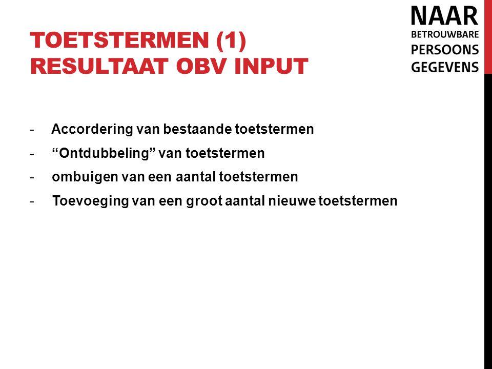 Toetstermen (1) resultaat obv input
