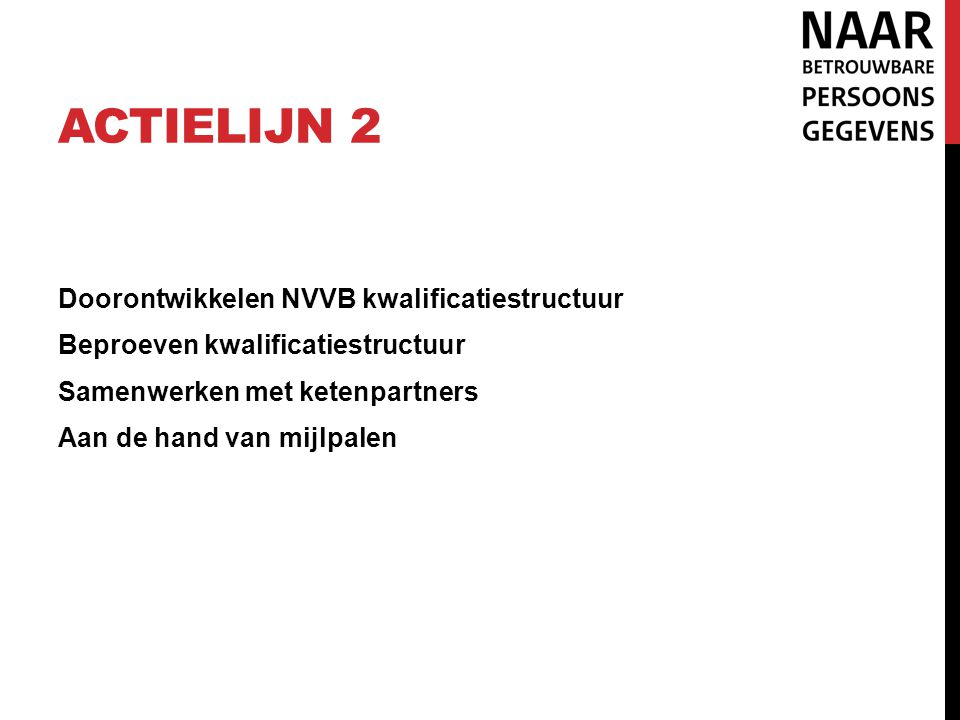 Actielijn 2 Doorontwikkelen NVVB kwalificatiestructuur Beproeven kwalificatiestructuur Samenwerken met ketenpartners Aan de hand van mijlpalen