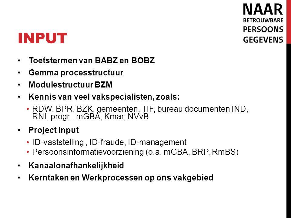 input Toetstermen van BABZ en BOBZ Gemma processtructuur