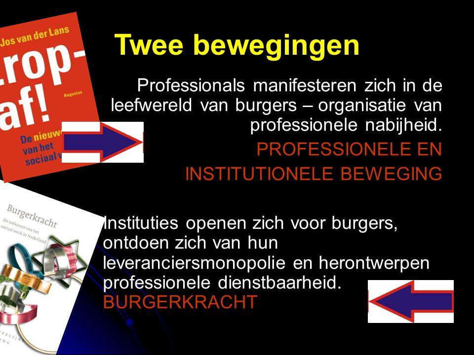 Twee bewegingen Professionals manifesteren zich in de leefwereld van burgers – organisatie van professionele nabijheid.