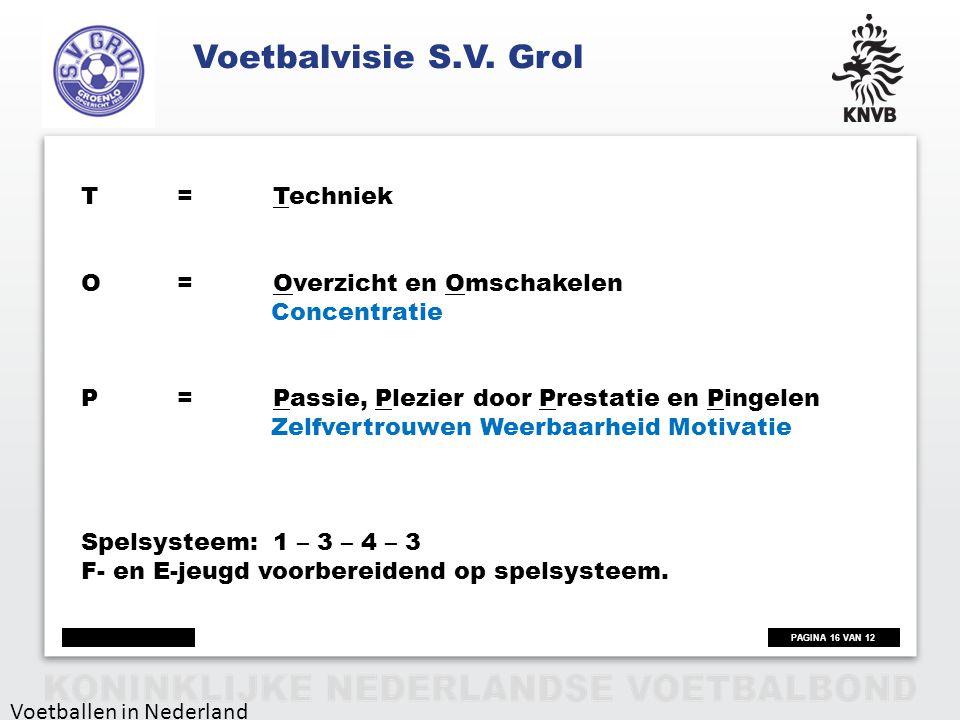 Voetbalvisie S.V. Grol T = Techniek O = Overzicht en Omschakelen