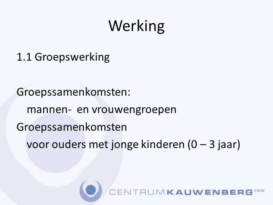 Werking 1.1 Groepswerking Groepssamenkomsten: