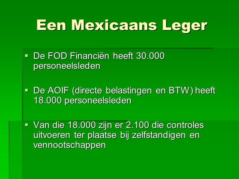 Een Mexicaans Leger De FOD Financiën heeft 30.000 personeelsleden