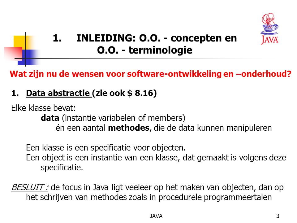 1. INLEIDING: O.O. - concepten en O.O. - terminologie