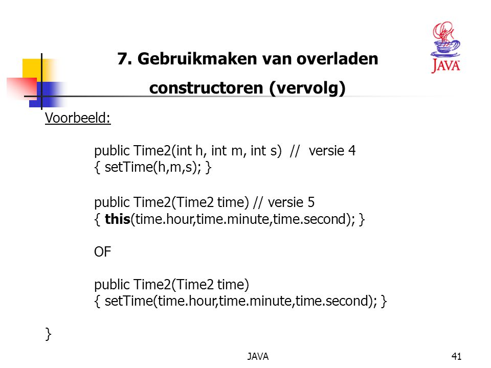 7. Gebruikmaken van overladen constructoren (vervolg)
