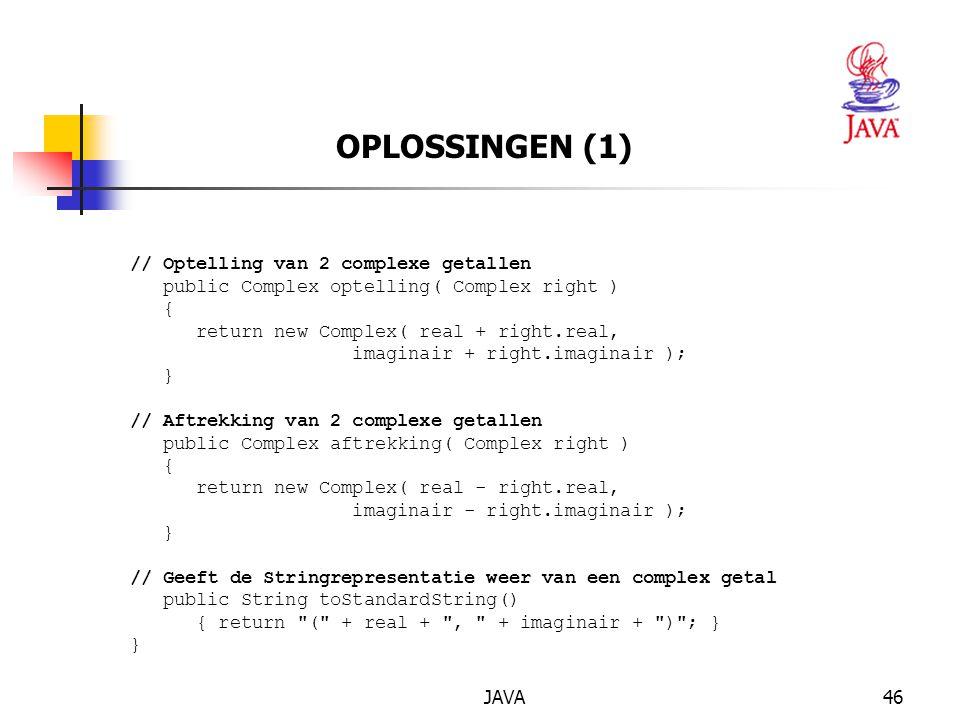 OPLOSSINGEN (1) // Optelling van 2 complexe getallen