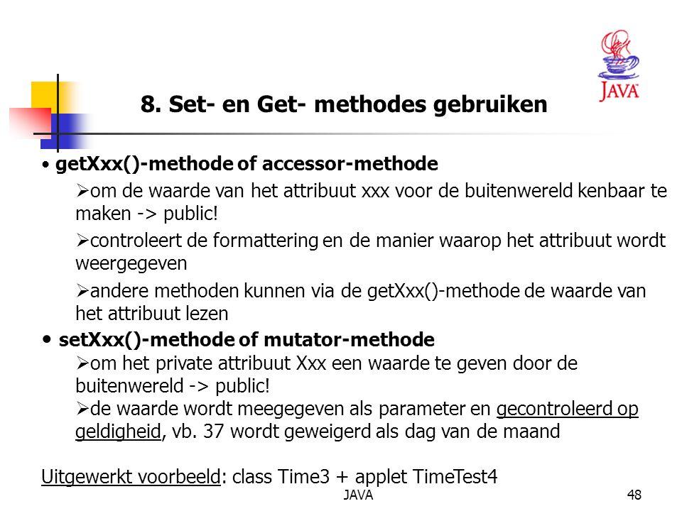8. Set- en Get- methodes gebruiken