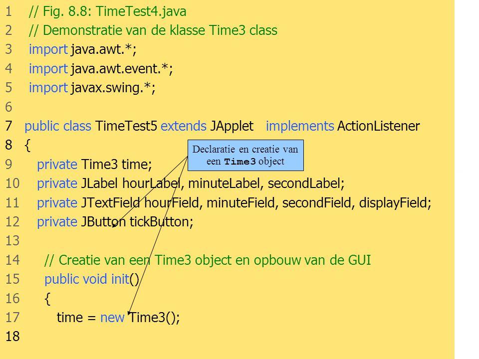 Declaratie en creatie van een Time3 object