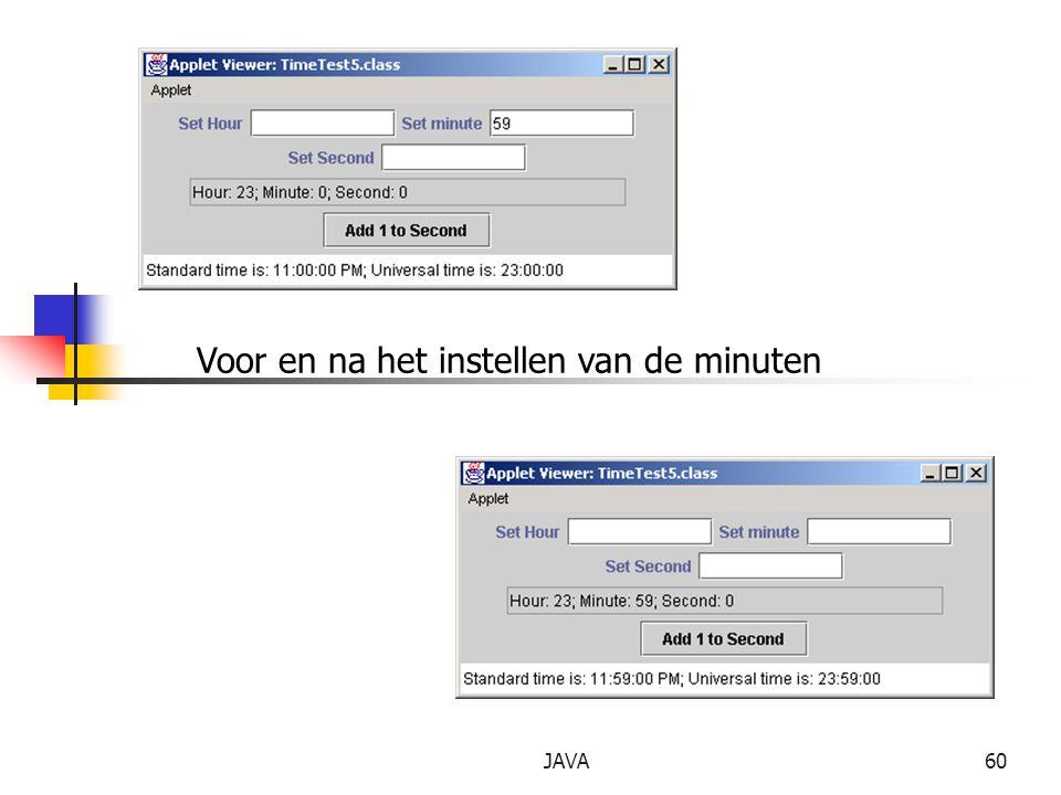 Voor en na het instellen van de minuten