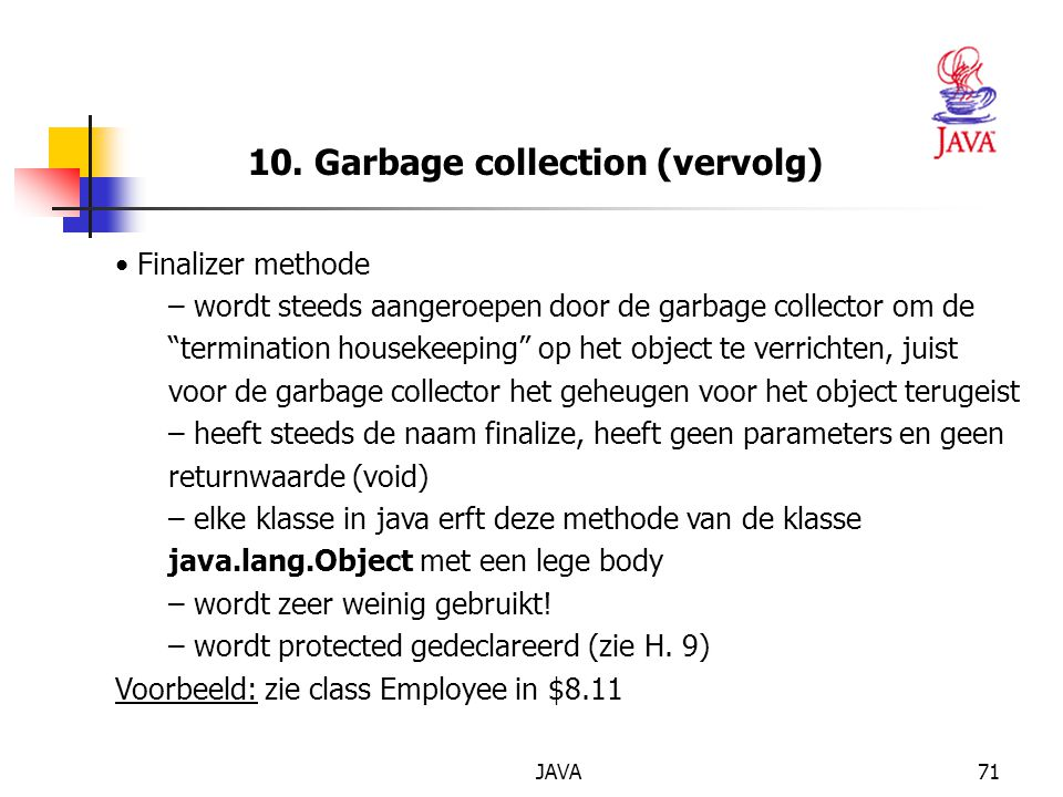 10. Garbage collection (vervolg)