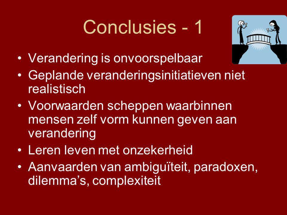 Conclusies - 1 Verandering is onvoorspelbaar