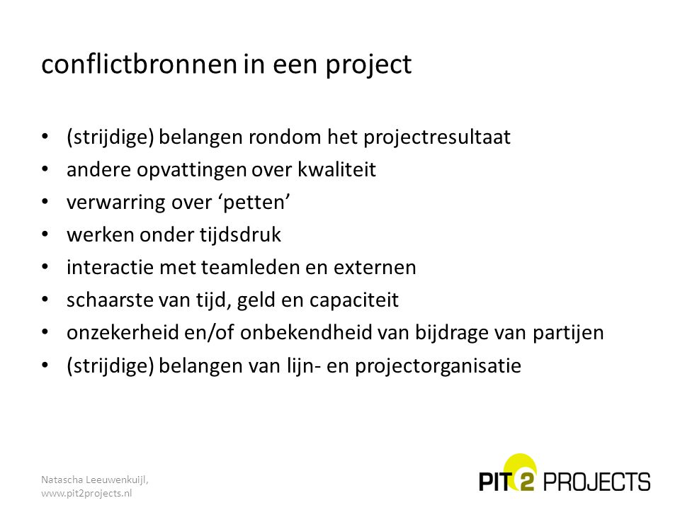 conflictbronnen in een project