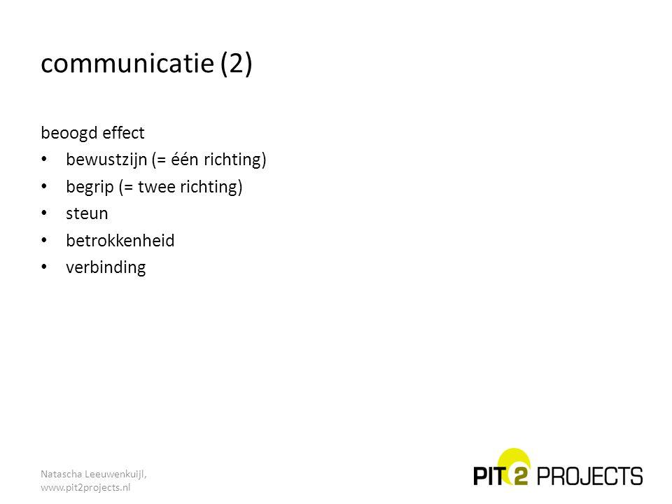 communicatie (2) beoogd effect bewustzijn (= één richting)