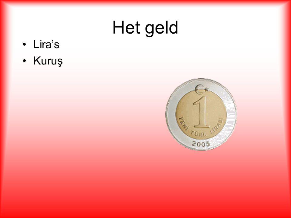 Het geld Lira's. Kuruş. Munten noem je in Turkije Lira's. 0.50 cent is gelijk aan 1 lira. 1 euro is gelijk aan 2.10 lira.