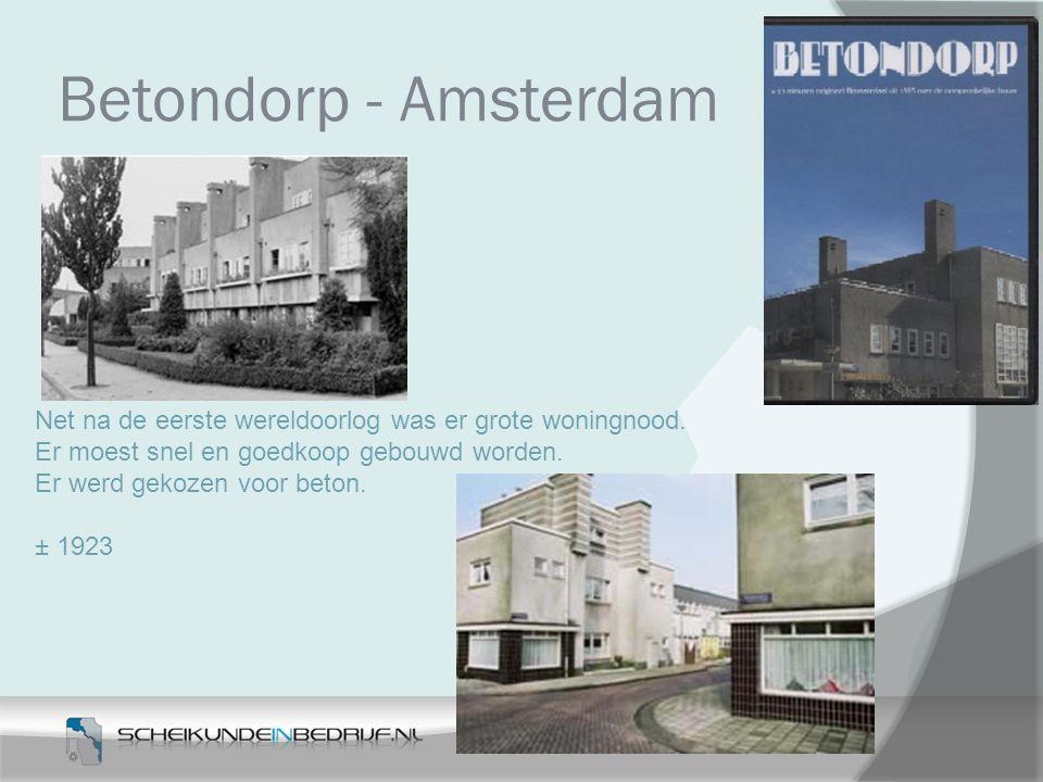 Betondorp - Amsterdam Net na de eerste wereldoorlog was er grote woningnood. Er moest snel en goedkoop gebouwd worden.
