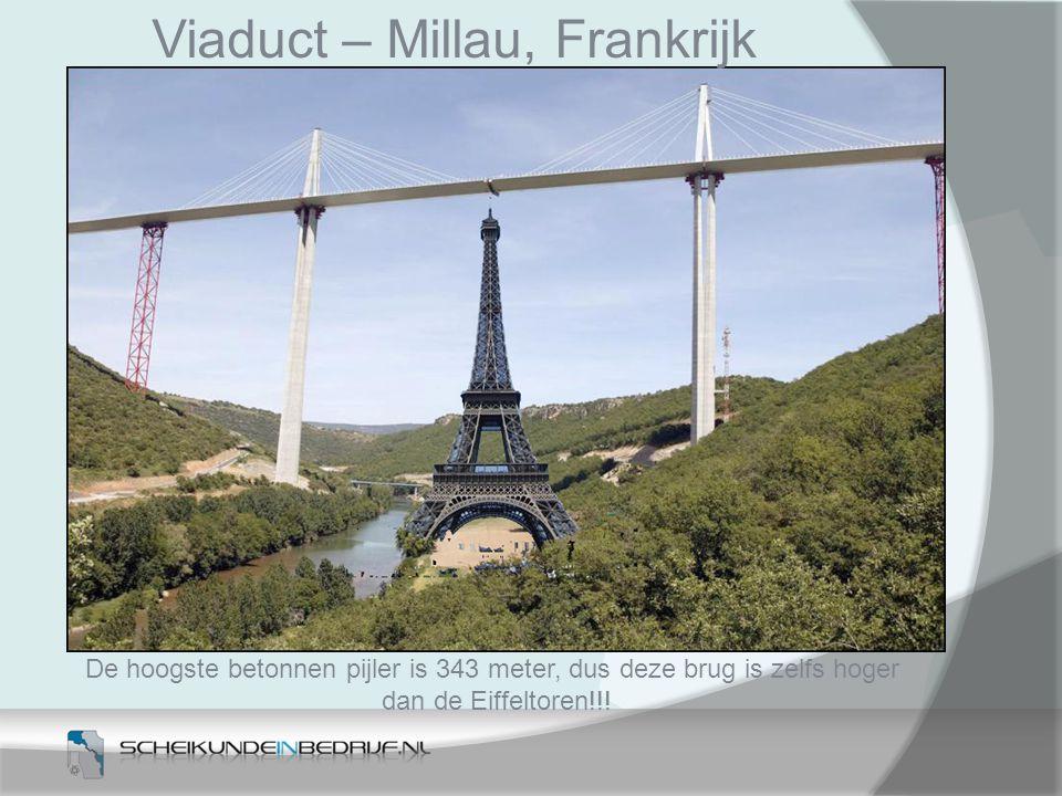 De hoogste betonnen pijler is 343 meter, dus deze brug is zelfs hoger
