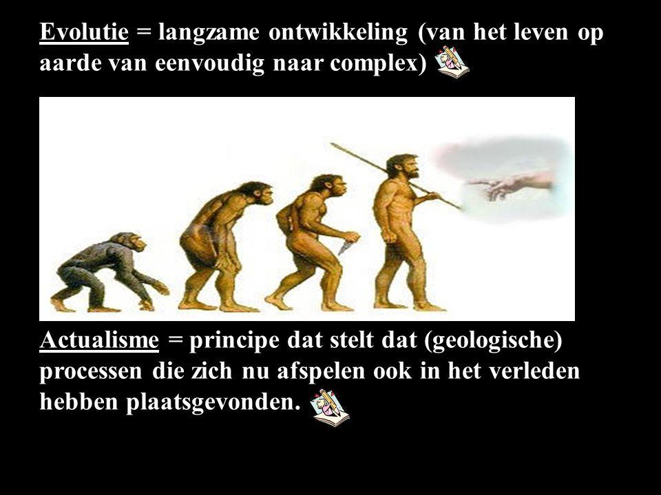 Evolutie = langzame ontwikkeling (van het leven op aarde van eenvoudig naar complex)