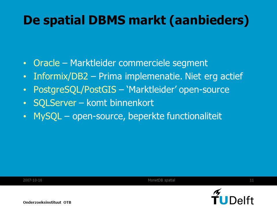 De spatial DBMS markt (aanbieders)
