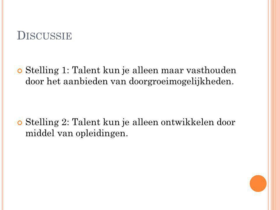 Discussie Stelling 1: Talent kun je alleen maar vasthouden door het aanbieden van doorgroeimogelijkheden.