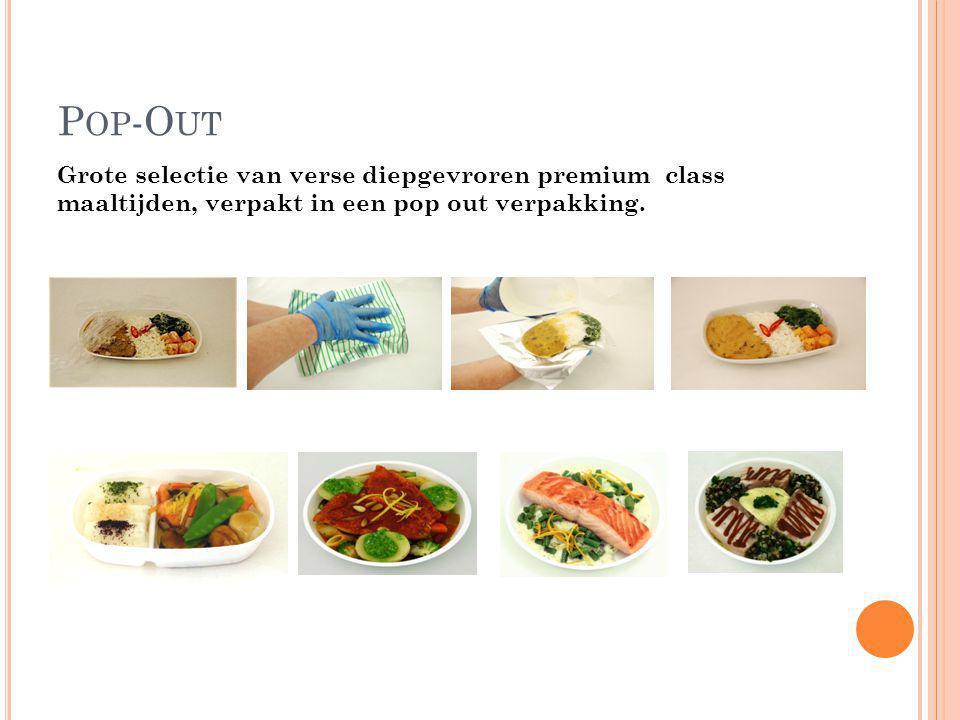 Pop-Out Grote selectie van verse diepgevroren premium class maaltijden, verpakt in een pop out verpakking.