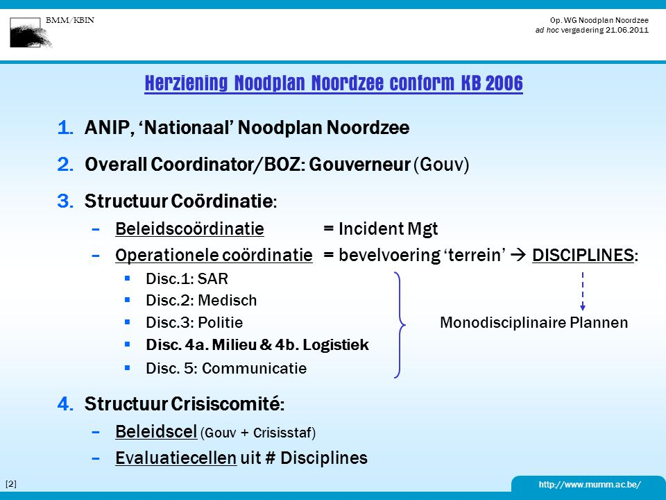 Herziening Noodplan Noordzee conform KB 2006