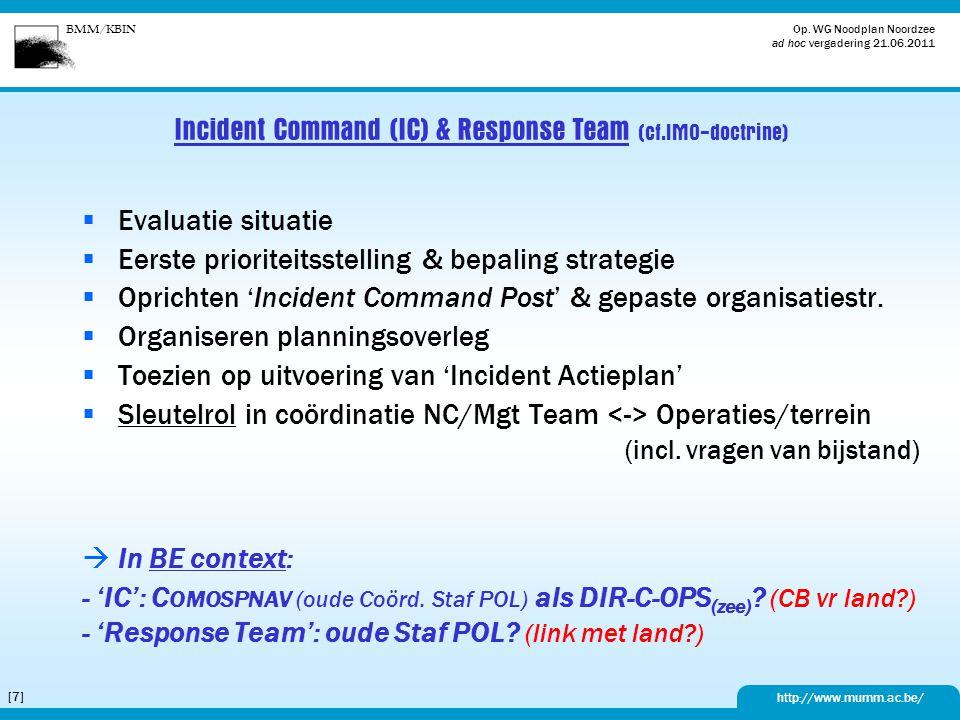 Incident Command (IC) & Response Team (cf.IMO-doctrine)