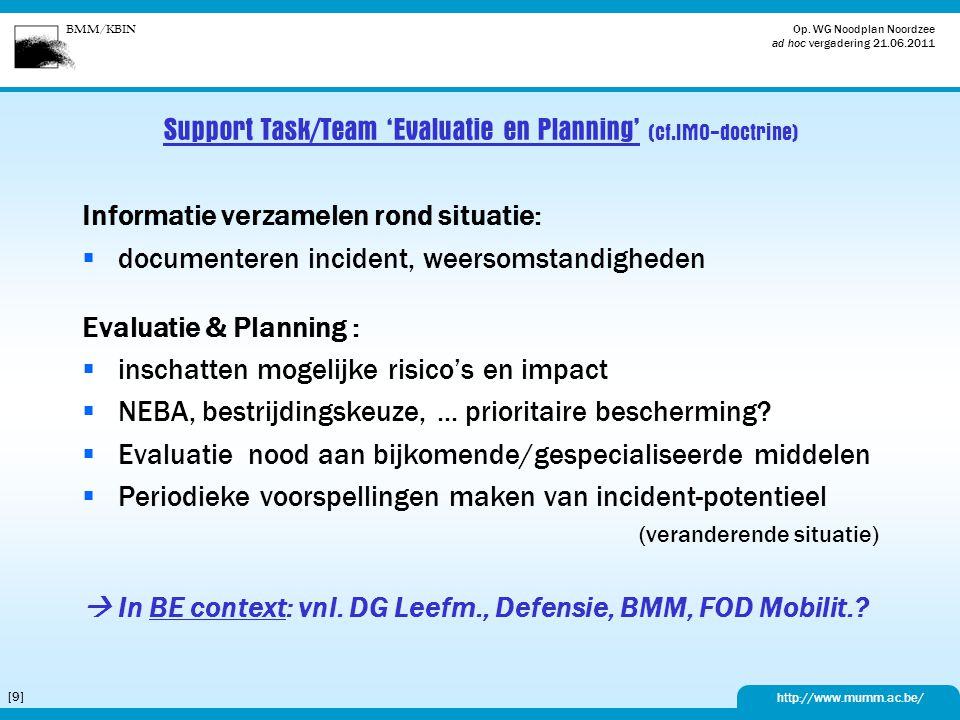 Support Task/Team 'Evaluatie en Planning' (cf.IMO-doctrine)