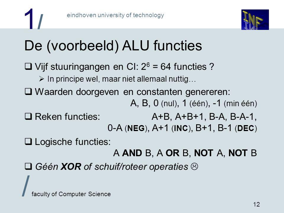 De (voorbeeld) ALU functies