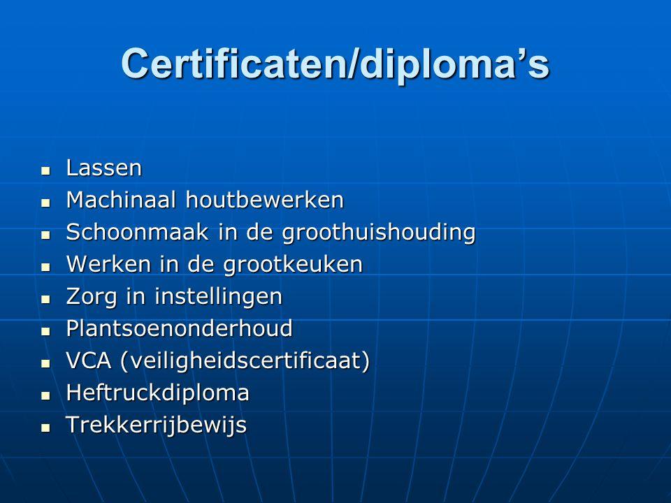 Certificaten/diploma's