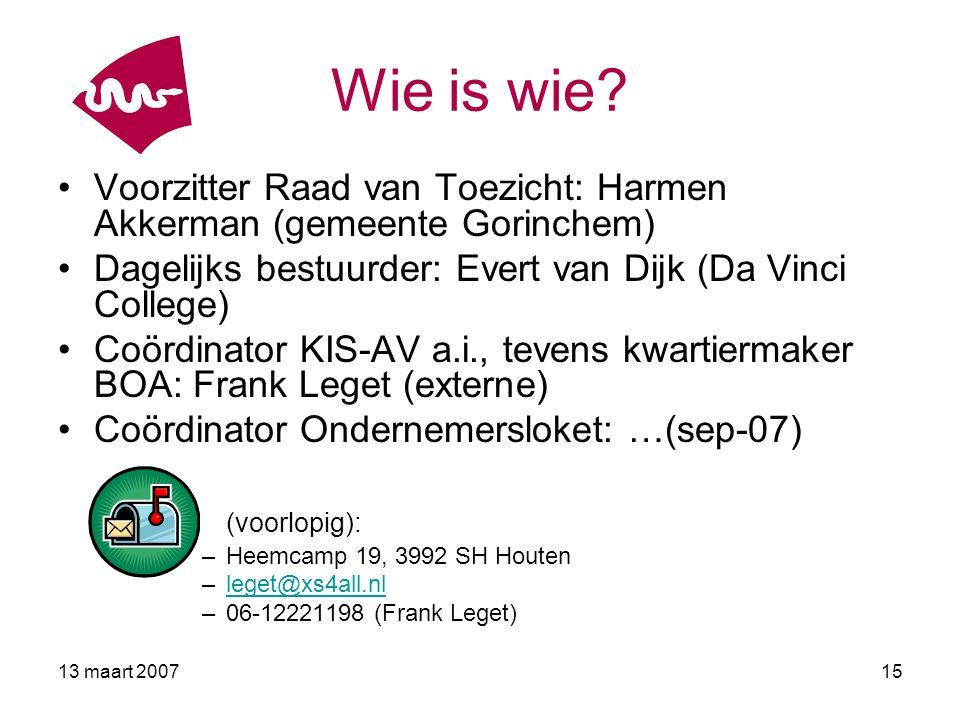 Wie is wie Voorzitter Raad van Toezicht: Harmen Akkerman (gemeente Gorinchem) Dagelijks bestuurder: Evert van Dijk (Da Vinci College)