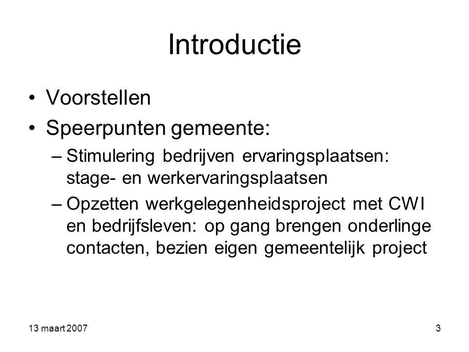 Introductie Voorstellen Speerpunten gemeente: