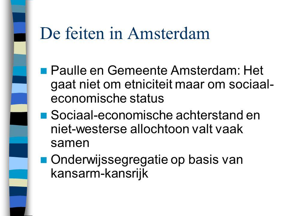 De feiten in Amsterdam Paulle en Gemeente Amsterdam: Het gaat niet om etniciteit maar om sociaal-economische status.