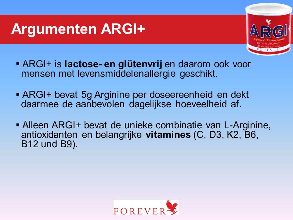 Argumenten ARGI+ ARGI+ is lactose- en glütenvrij en daarom ook voor mensen met levensmiddelenallergie geschikt.