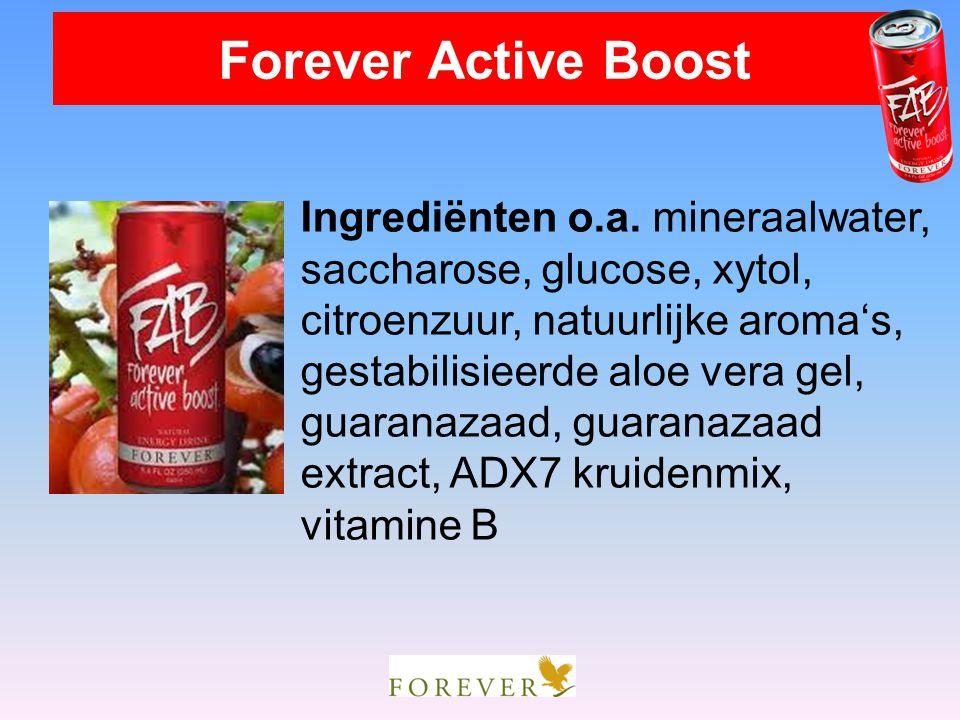 Forever Active Boost Ingrediënten o.a. mineraalwater, saccharose, glucose, xytol, citroenzuur, natuurlijke aroma's,