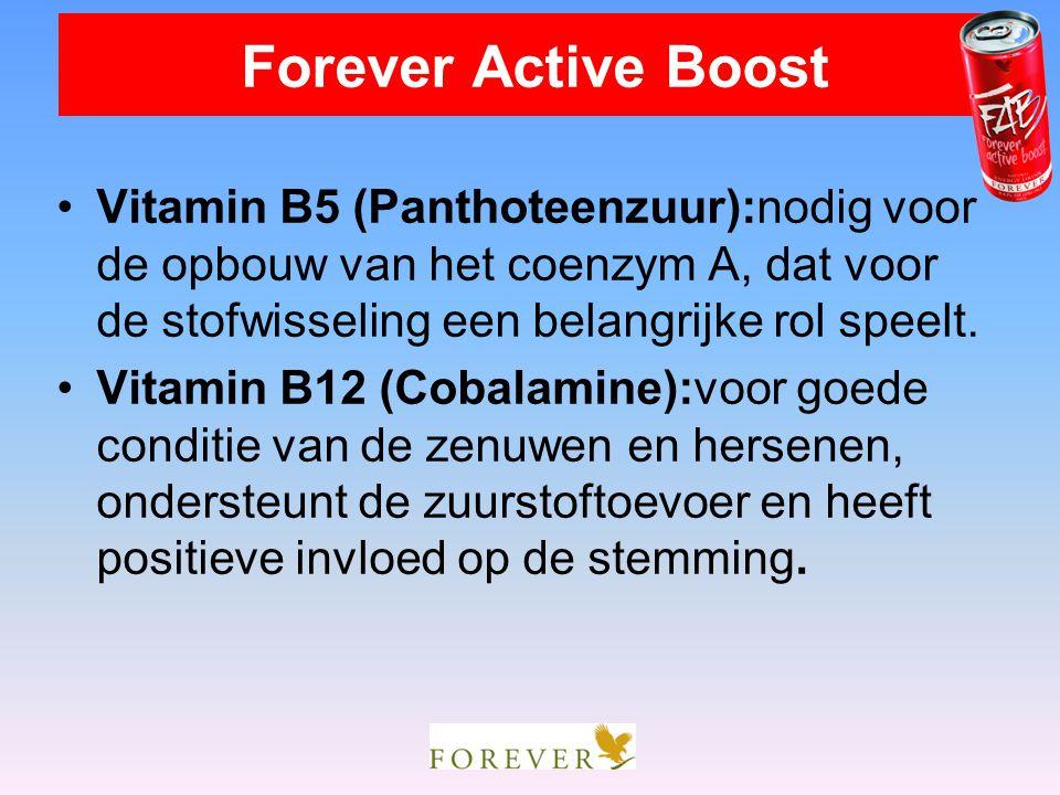 Forever Active Boost Vitamin B5 (Panthoteenzuur):nodig voor de opbouw van het coenzym A, dat voor de stofwisseling een belangrijke rol speelt.