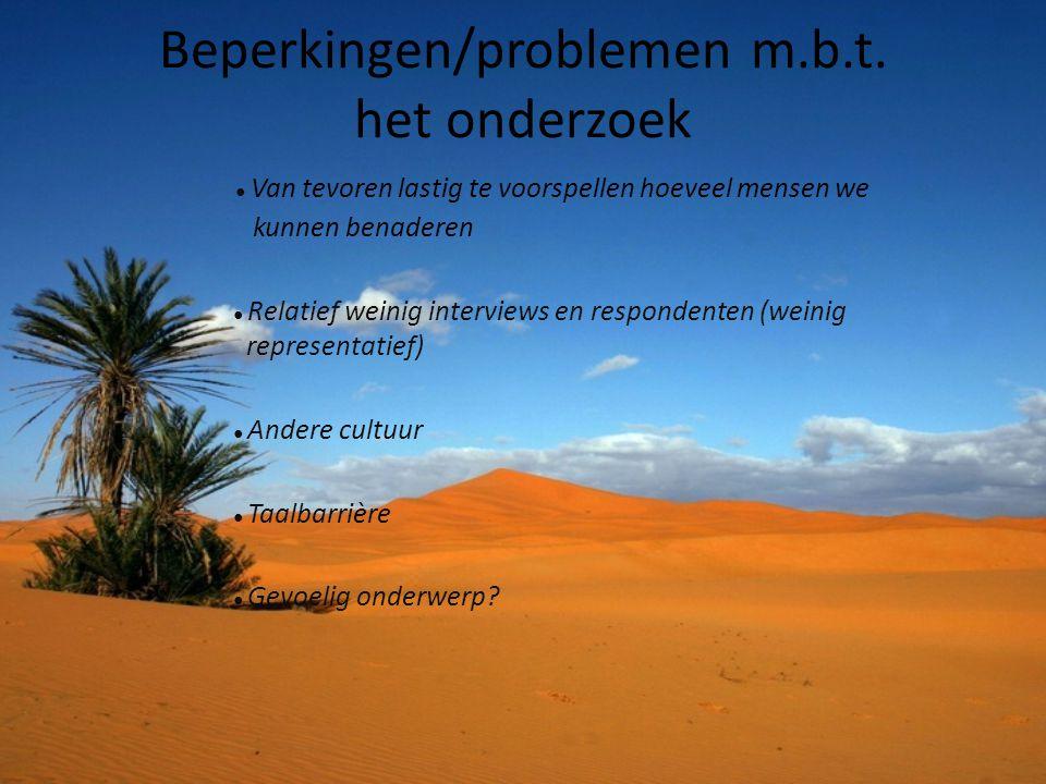 Beperkingen/problemen m.b.t. het onderzoek