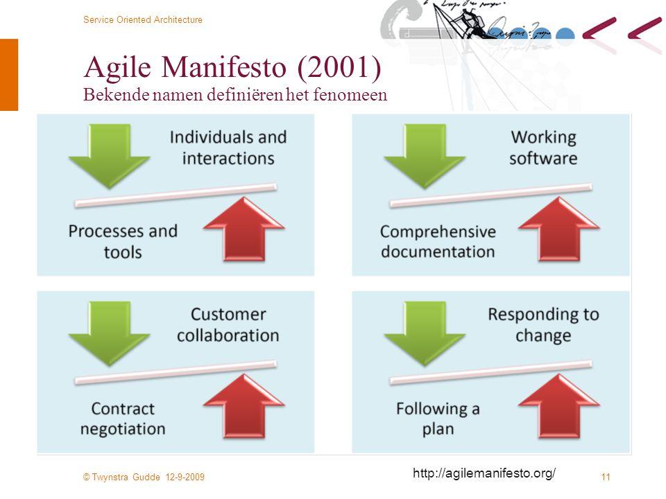 Agile Manifesto (2001) Bekende namen definiëren het fenomeen