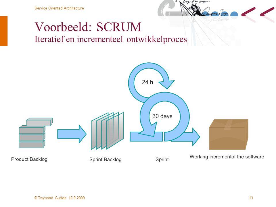 Voorbeeld: SCRUM Iteratief en incrementeel ontwikkelproces