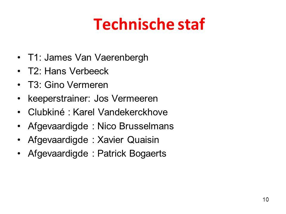 Technische staf T1: James Van Vaerenbergh T2: Hans Verbeeck