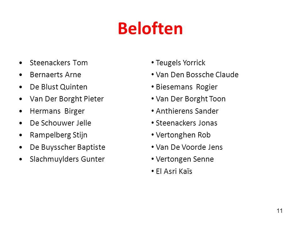Beloften Steenackers Tom Bernaerts Arne De Blust Quinten