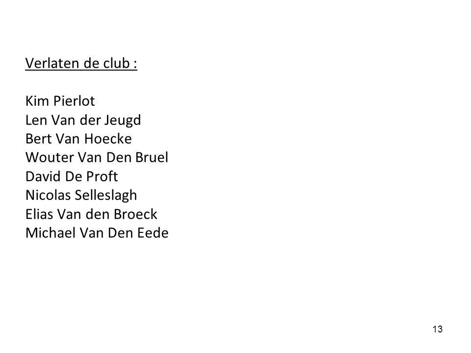 Verlaten de club : Kim Pierlot Len Van der Jeugd Bert Van Hoecke Wouter Van Den Bruel David De Proft Nicolas Selleslagh Elias Van den Broeck Michael Van Den Eede