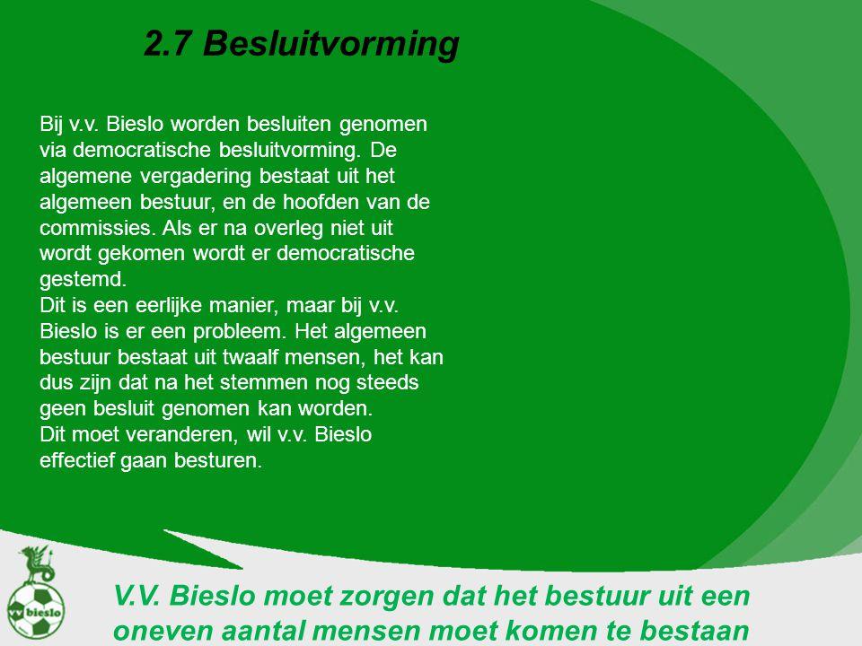 2.7 Besluitvorming V.V. Bieslo moet zorgen dat het bestuur uit een