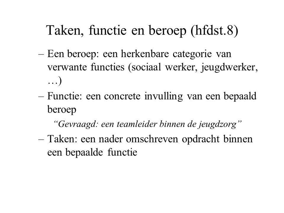 Taken, functie en beroep (hfdst.8)