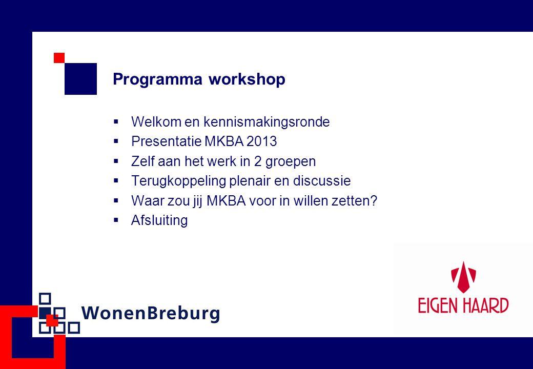 Programma workshop Welkom en kennismakingsronde Presentatie MKBA 2013